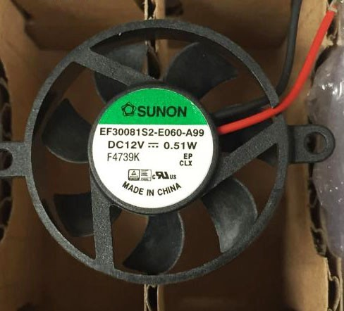SUNON EF30081S2-E060-A99 12V 0.51W 2 Wires Cooling Fan