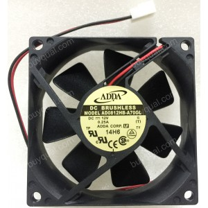 ADDA AD0812HB-A70GL 12V 0.25A 3W 2wires Cooling Fan